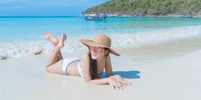 lady enjoying on beach