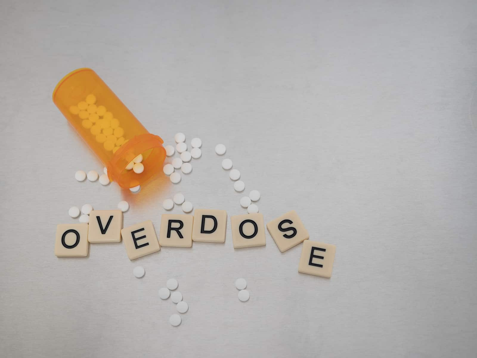 Overdose spelled with tile letters