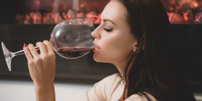 woman drinking wine