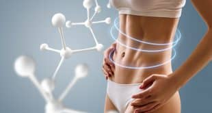 Woman With Perfect Body Near Big Molecule Chain