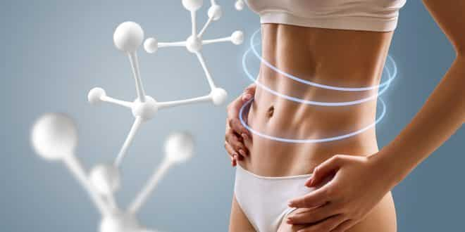 Woman With Perfect Body Near Big Molecule Chain