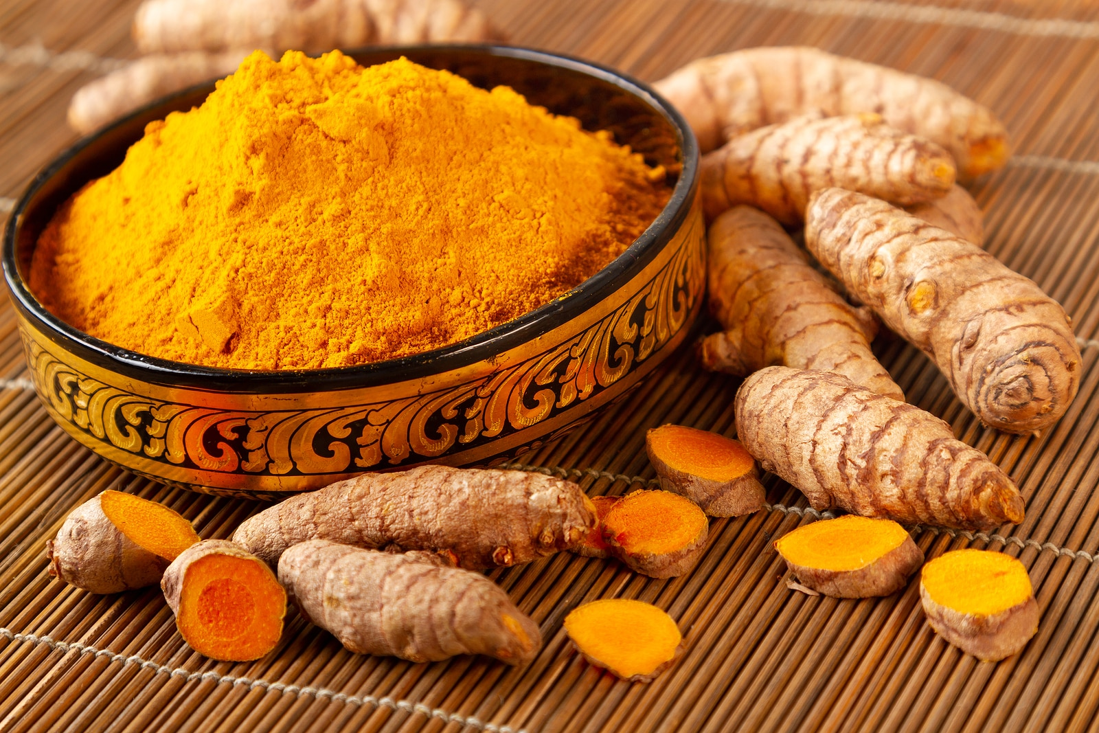 Close up of turmeric powder