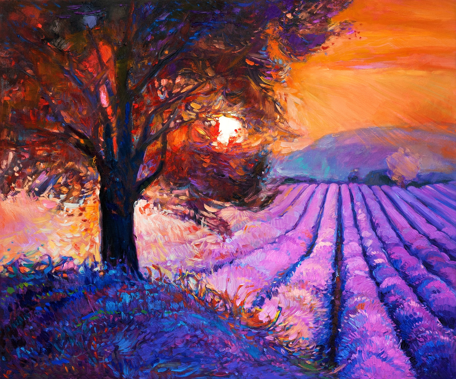 Original oil painting of lavender fields