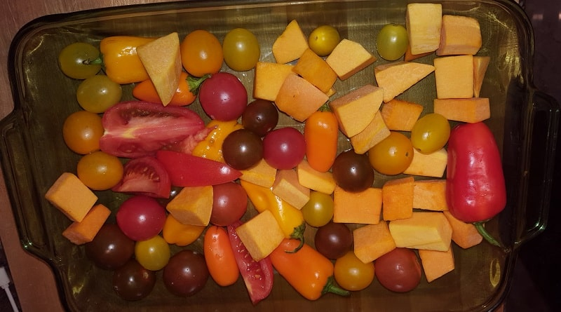Tomatoes, Peppers, Garlic and Butternut Squash