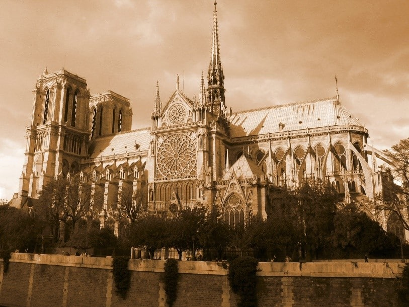 Notre Dame under a red haze