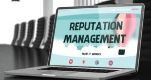 Closeup Reputation Management Concept on Landing Page of Mobile Computer Display in Modern Conference Hall. Toned Image. Blurred Background. 3D Illustration.