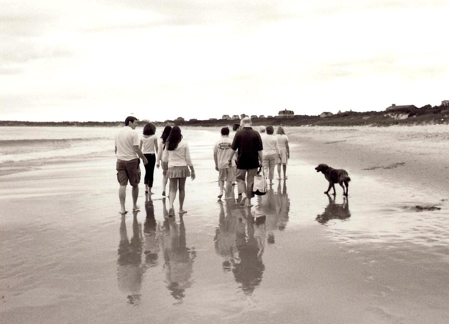 Family of multi generations walking on the beach