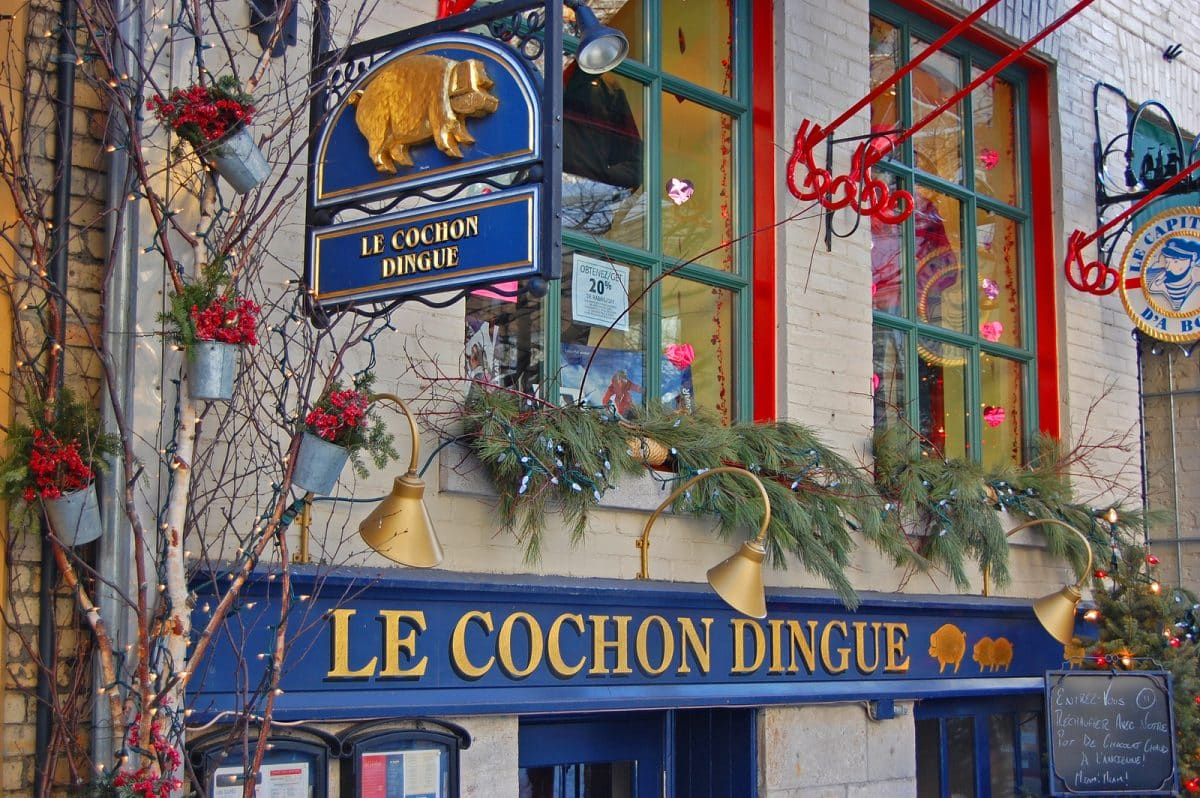 Le Cochon Dingue Restaurant on Rue du Petit-Champlain at Lower Town Basse