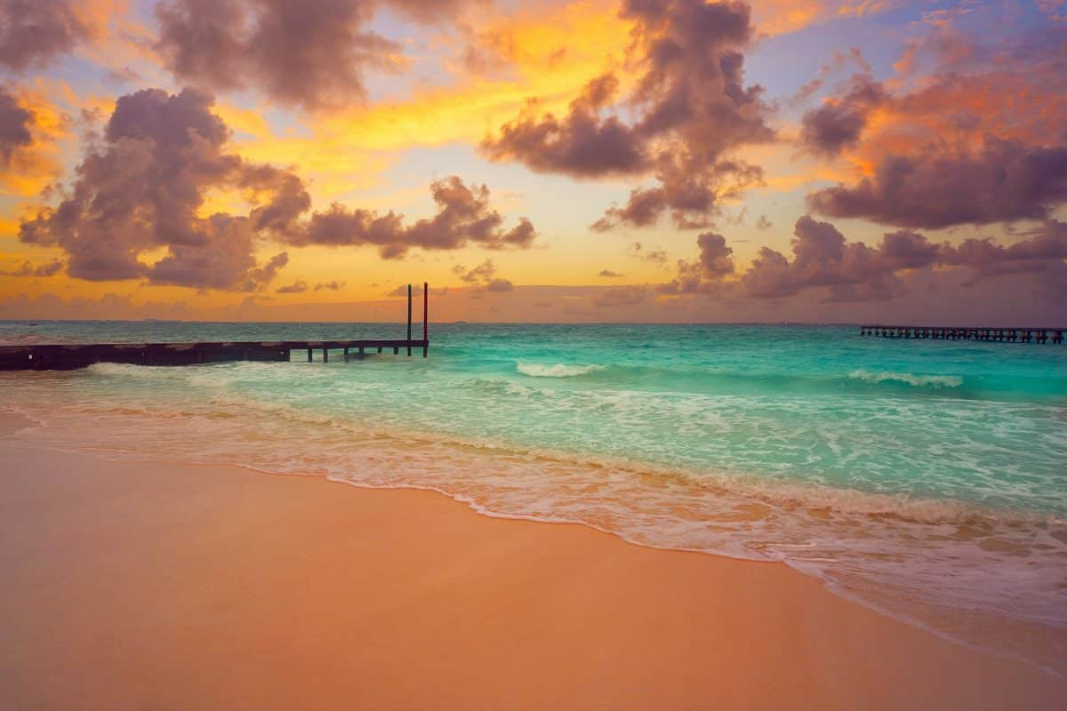 Cancun Caracol beach sunset in Mexico