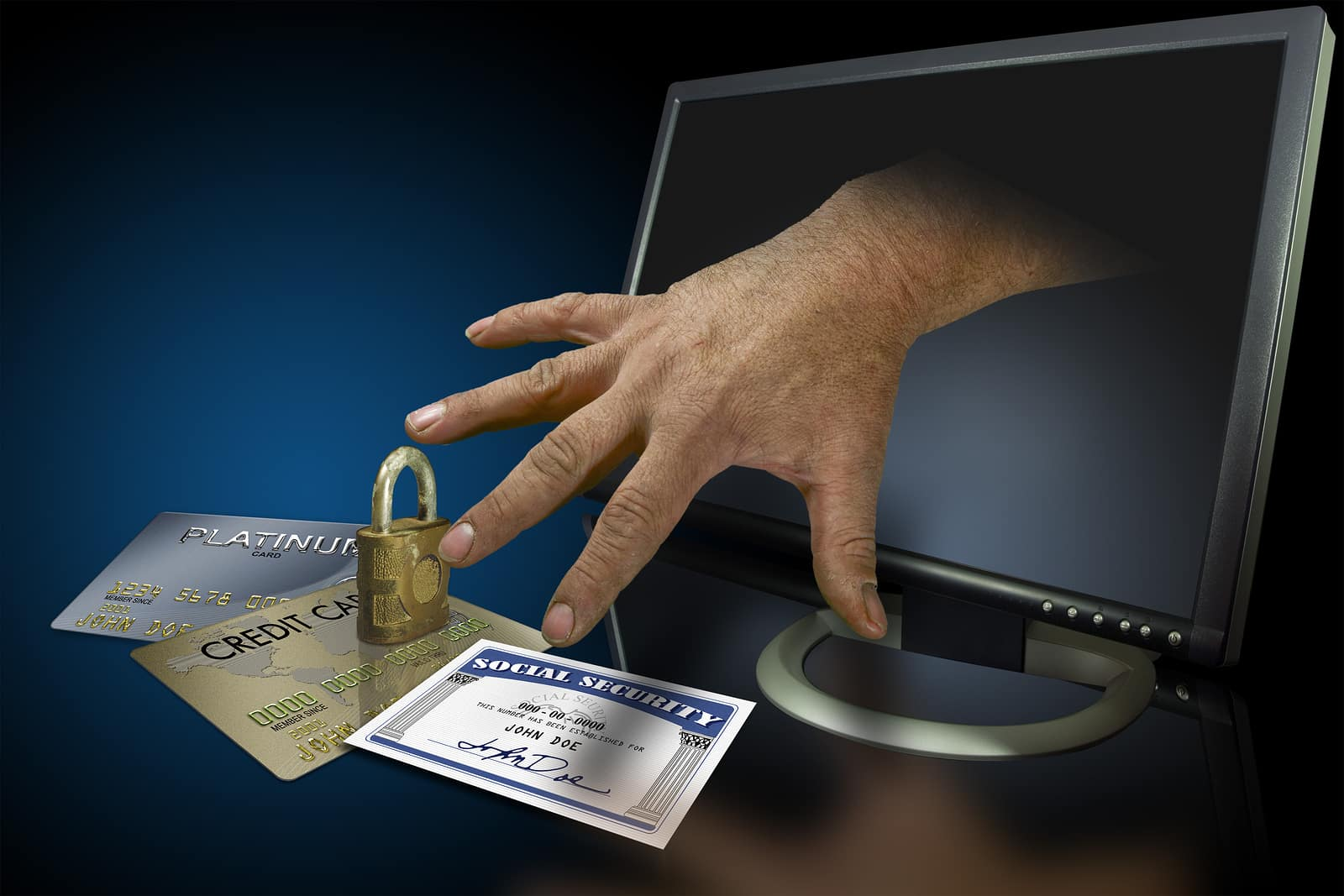Identity theft on the web with credit cards
