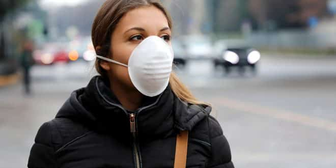 Woman with face mask protective