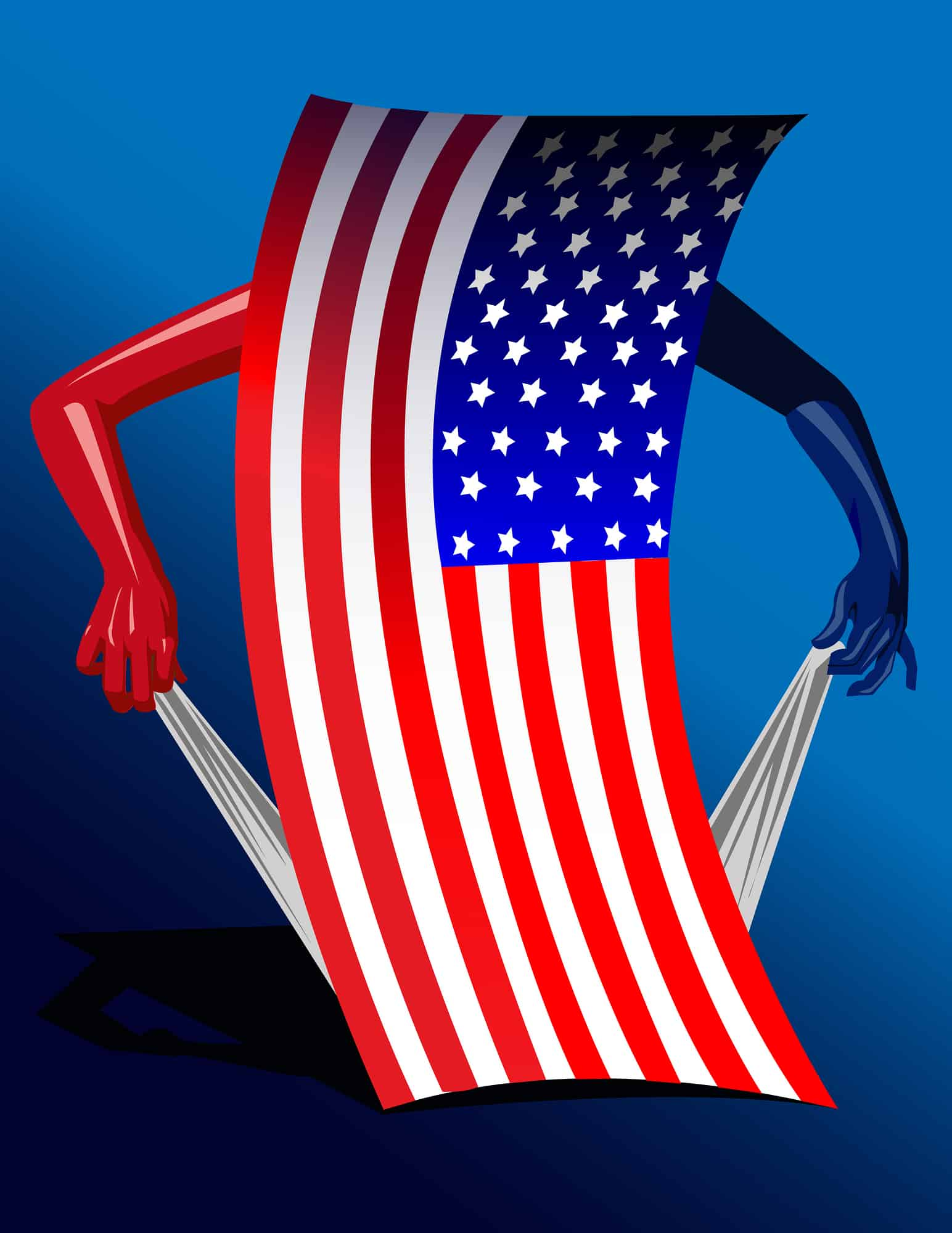 An American flag, standing on end, with human arms pulling on empty pocket indicating they are empty.