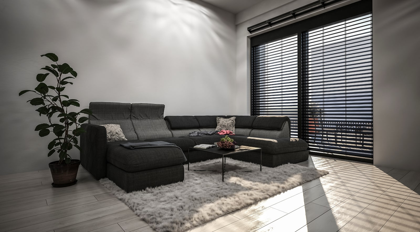 Spacious living room with high window with horizontal blinds,