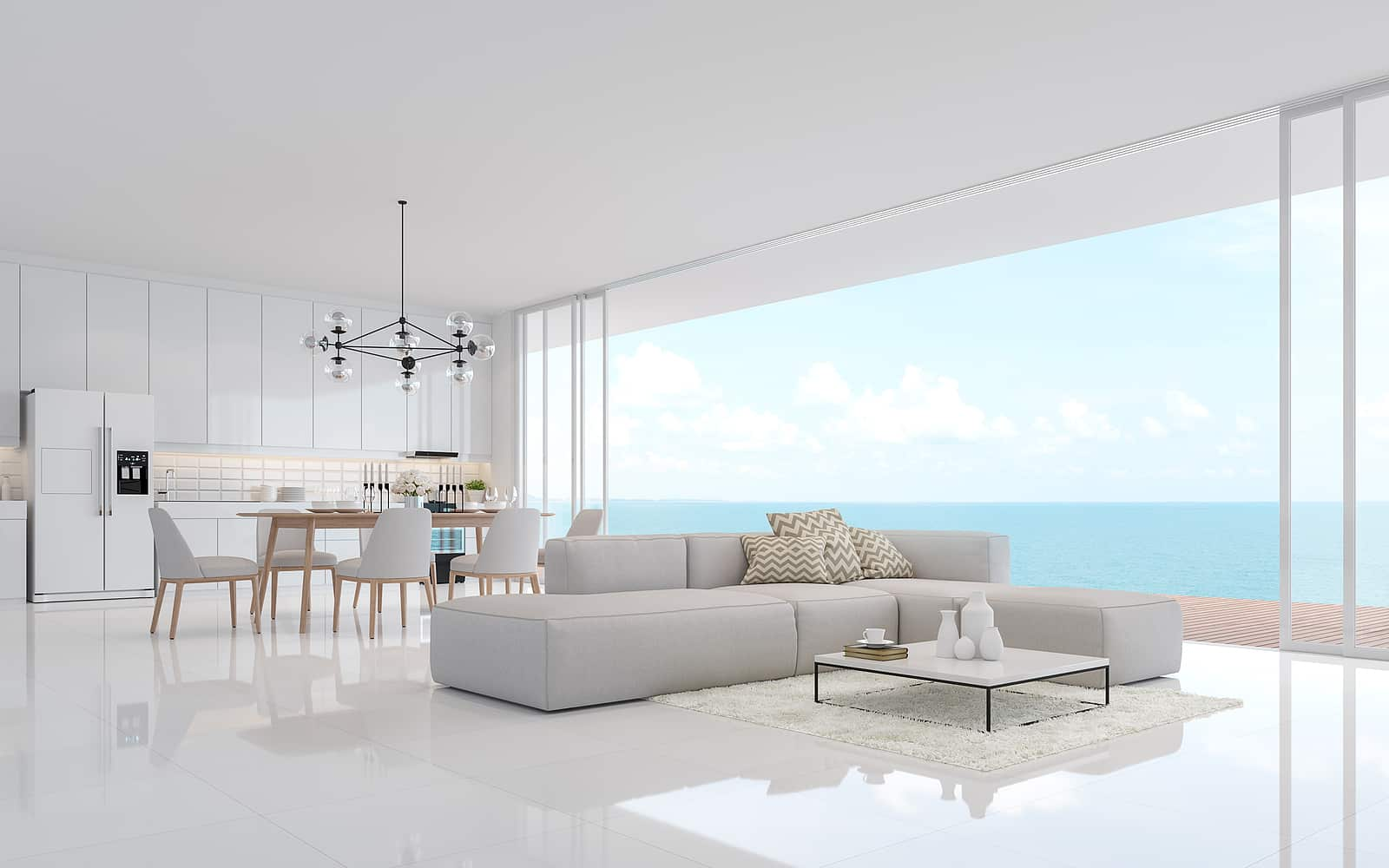 Luxury white living dining room