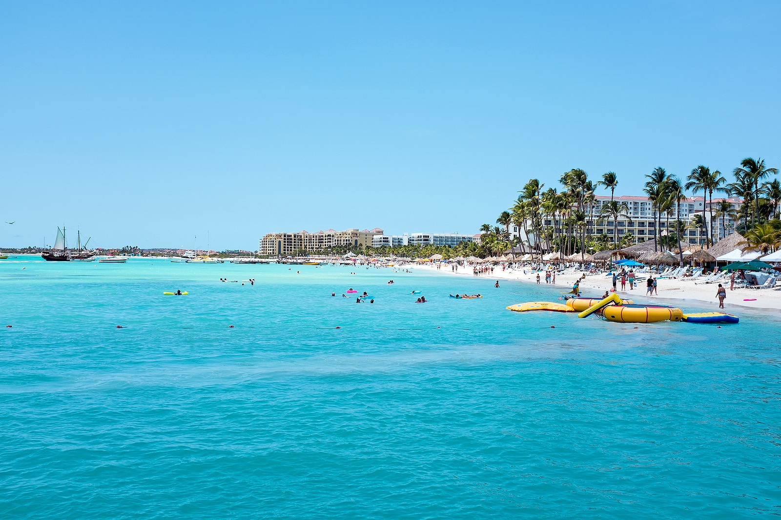 Palm Beach on Aruba island in the Caribbean Sea
