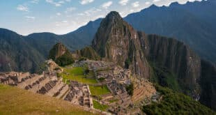 View of the ancient city of Machu Picchu, Peru