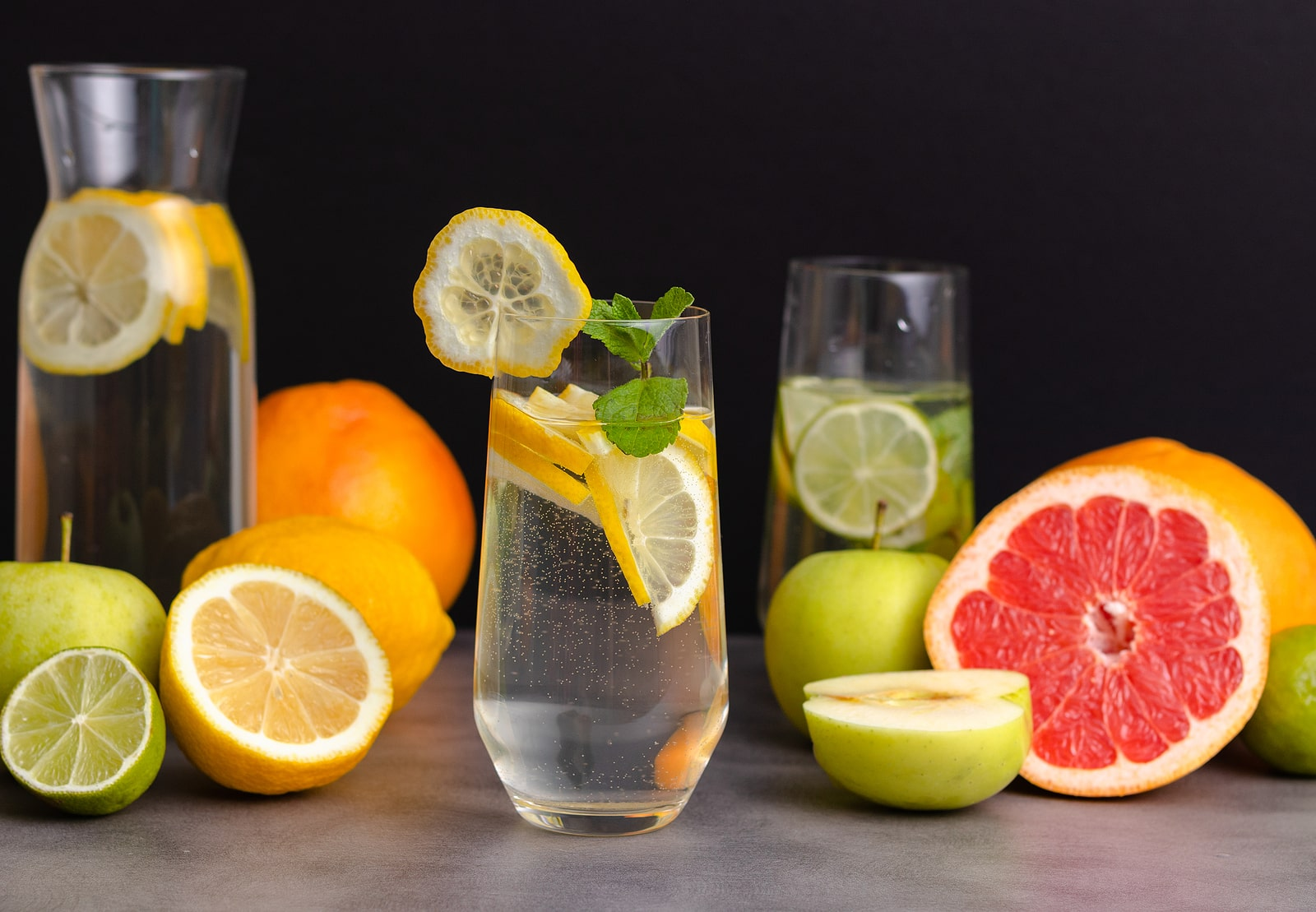 Glass of detox water with lemon slices
