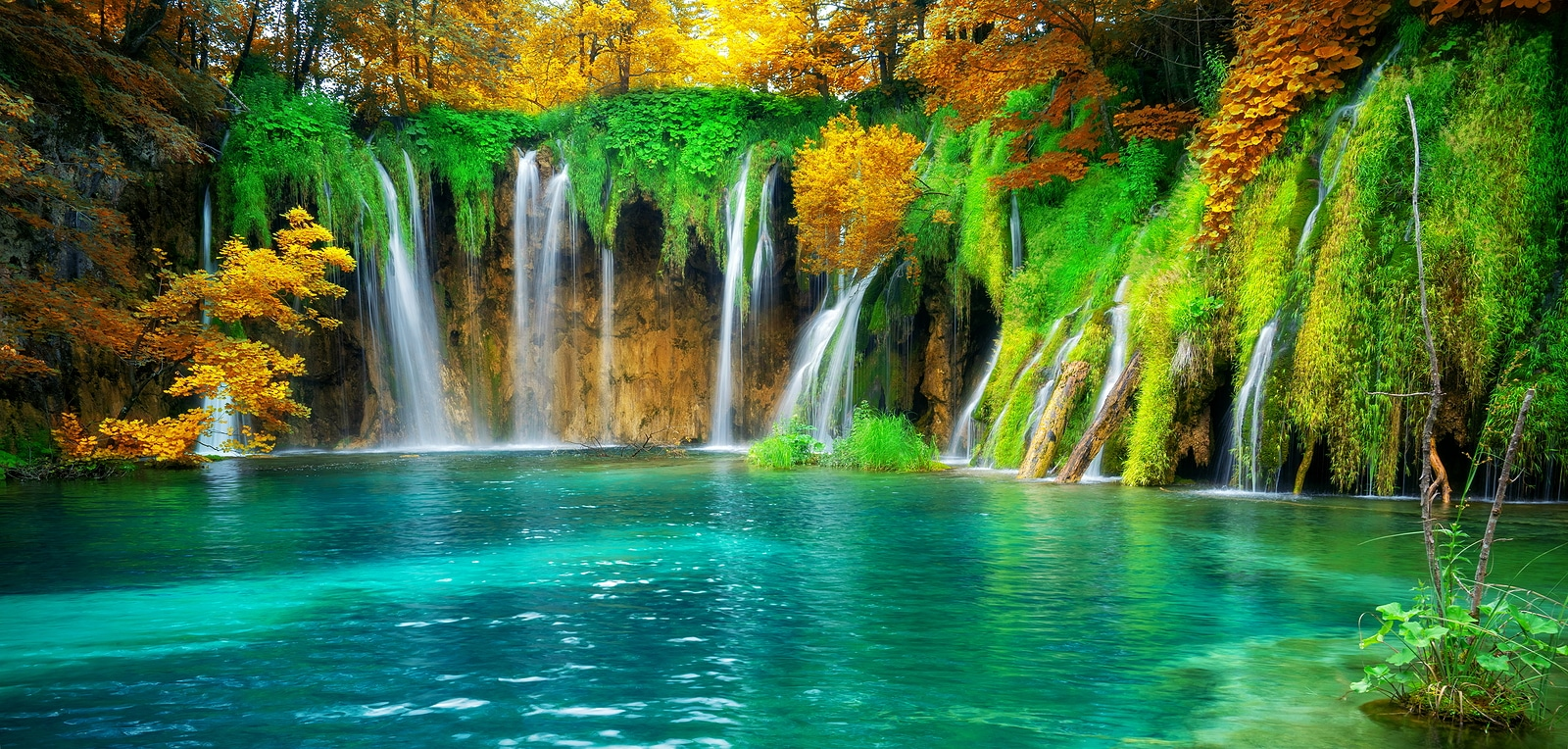 Exotic waterfall and lake landscape of Plitvice Lakes National Park