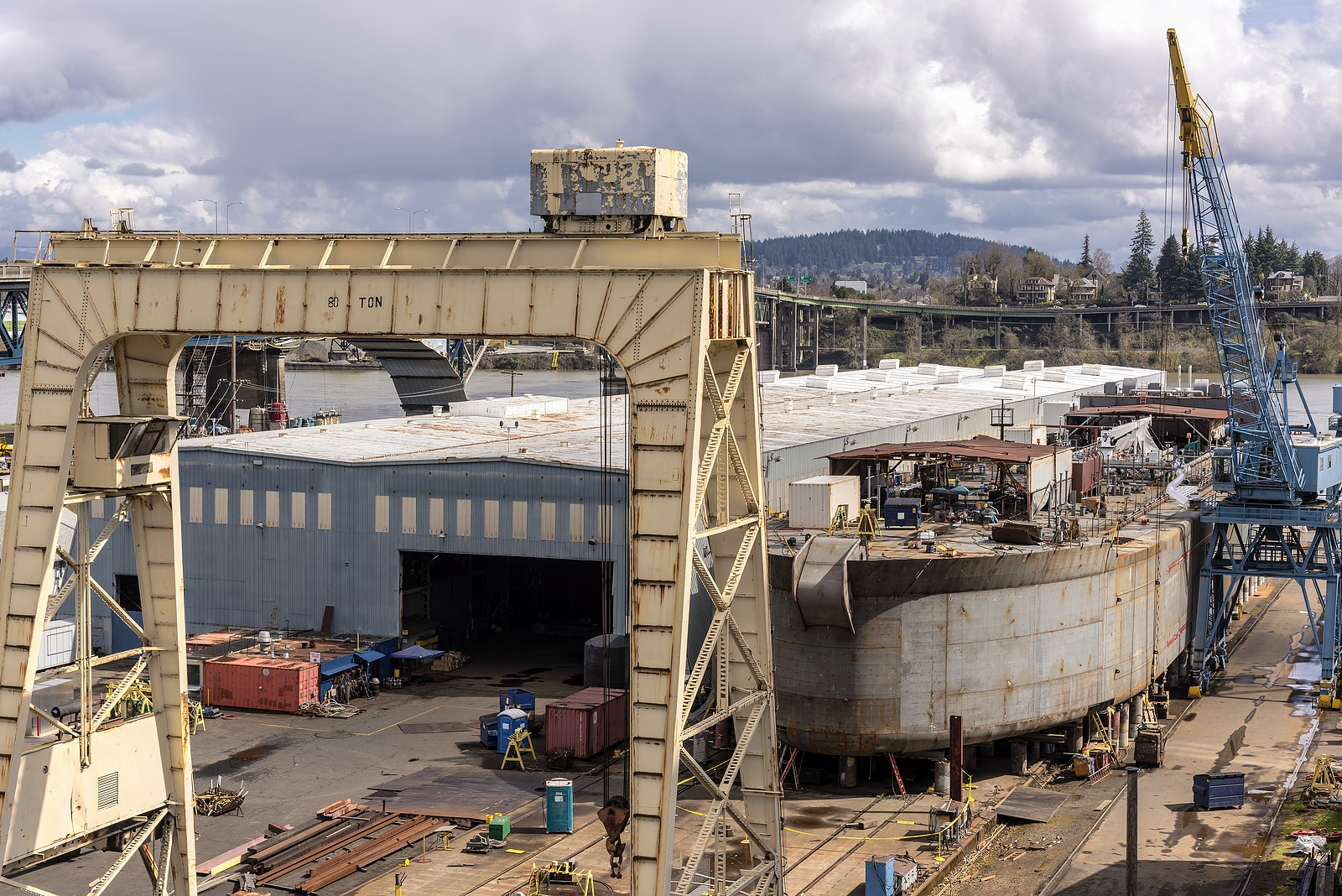 Shipyard and barge building in Portland Oregon.