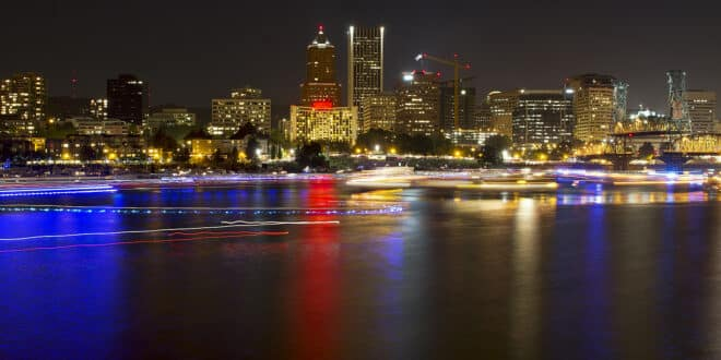 Portland Oregon Waterfront at Night